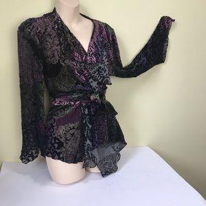 Piccadilly Fashion Boho Wrap Top Silk Burt Velvet